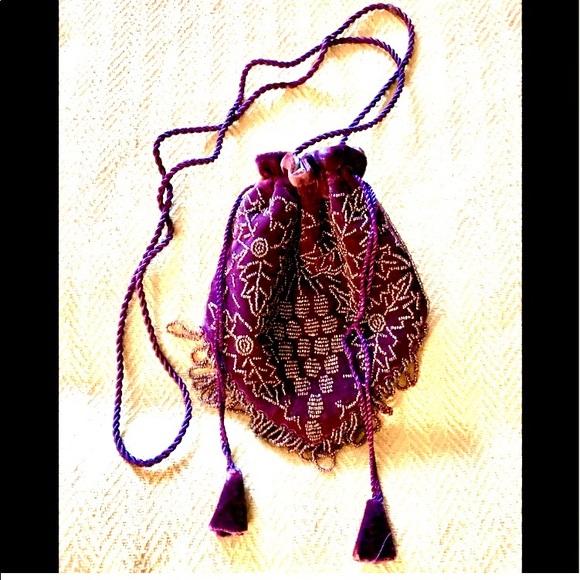 Handbags - Rich Purple boho beaded crossbody bag
